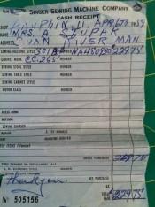 singer receipt
