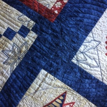 detail of snowflakes in quilting