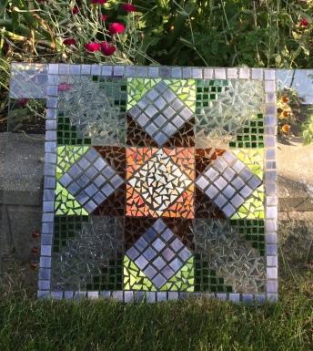 quilt block in glass